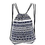AutoLover®エスニック調巾着リュック巾着バックパック 巾着袋 ショルダーバック ストレージ ポーチ 民族風 旅行 ナップサック 4色選択(ブルー)