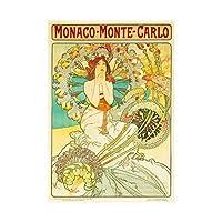 Travel Monaco Monte Carlo Nouveau Mucha Rail Train Wall Art Print 旅行モナコヌーボーレール列車壁