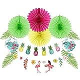 夏フラミンゴパーティー装飾、ティッシュペーパーファン、カラフルな夏紙バナー、フラミンゴハイビスカス花ガーランド、フラミンゴ用紙アコーディオンLanterns、人工パインBranches Leaves、12pcs Easy Joy