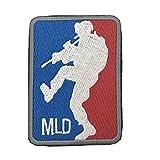 アメリカ軍 メジャーリーグ ドアキッカー MLD アフガニスタン イラク 駐留部隊 ジョークパッチ ミリタリー ワッペン ベロクロ着脱式 (ブルー&レッド)