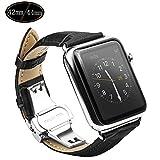 Xboun Apple Watch バンド ベルト42mm / 本革 レザー ステンレス プッシュ式 D バックル 簡単交換 ビジネス用 手作り Apple Watch Nike+, Apple Watch Series 1、 Series 2,Series 3 (ブラック,42mm)
