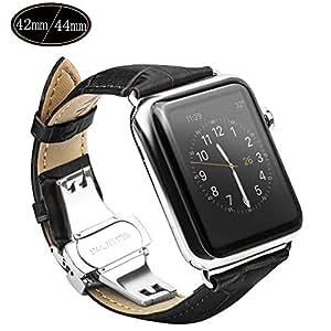 Xboun コンパチブル apple watch バンド,本革 ビジネス用 アップルウォッチバンド プッシュ式 Dバックル Apple Watch Series 4/3/2/1/Nike+ (42mm/44mm,ブラック)