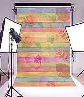 laeaccoビニールシンBackdrop 5x 7ft写真背景カラーストライプ木製壁床withローズフローラルパターンデザインLoveテーマ個人肖像画背景1.5( W ) x2.2( H ) Mフォトスタジオ小道具