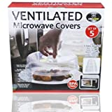 Ventilated Microwave Cover Lid Dome Set of 5 Plate Food Safe Plastic Dish Splatter Proof