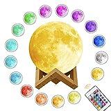 月のライト, Siying 3D月のランプ 16色明るさ 切替えナイトライト 間接照明 無段階調光 タッチスイッチ調光 リモコン付き USB充電式 デ..