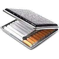 【YuHaru】 ワニ 革 クロコダイル 風 シガレットケース タバコ ケース 20 本 収納 煙草 入れ 黒 ブラック