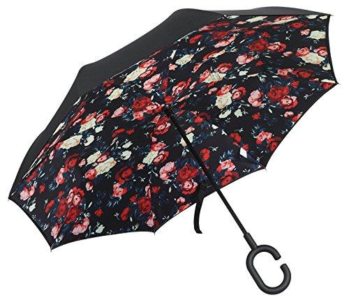 PLEMO 長傘 逆さ傘 逆折り式傘 UVカット 晴雨兼用 手離れC型手元 耐風傘 撥水加工 ビジネス用車用 明るい花柄 124センチ