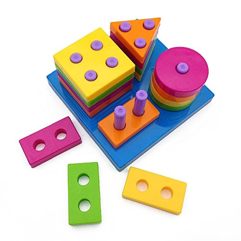 Wishtime 型はめ パズル 形あわせ 赤ちゃん 幼児 子供 幾何形状 棒さし 知育 おもちゃ(男女共用、1歳から)