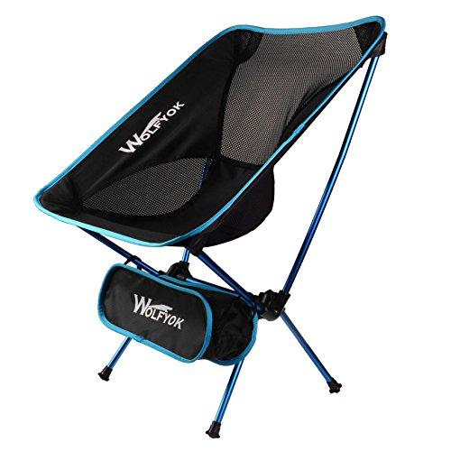 アウトドアチェア【耐荷重150kg】Wolfyok折りたたみ椅子コンパクト軽量持ち運びに便利な専用ケース付きお釣り登山キャンプ用ブルー