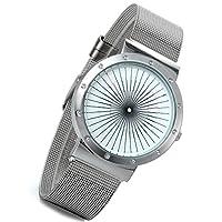 lancardoメンズスリムシルバートーンCool梁Radial Wrist Watch withミラネーゼループメッシュ編みバンド