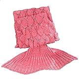 子供のためのマーメイドテールブランケットかぎ針編みの子供の寝室のソファスーパーソフト毛布寝袋 - ピンク140 * 70CM(55.11インチ* 27.55インチ) ( Size : 140*70CM )