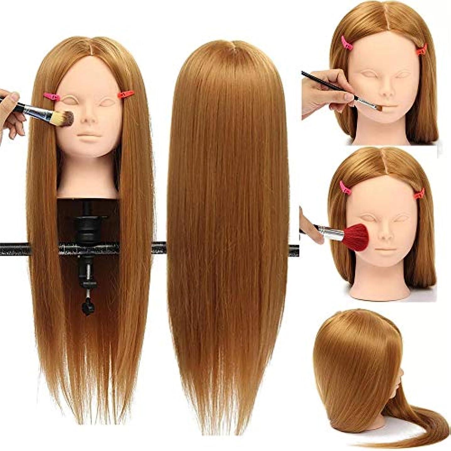 均等にリスク文芸ヘアマネキンヘッド クランプホルダと高温繊維30%本物の人間の髪の毛26