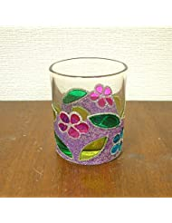 アジアン キャンドルホルダー カップ グラス 花柄 パープル アジアン雑貨