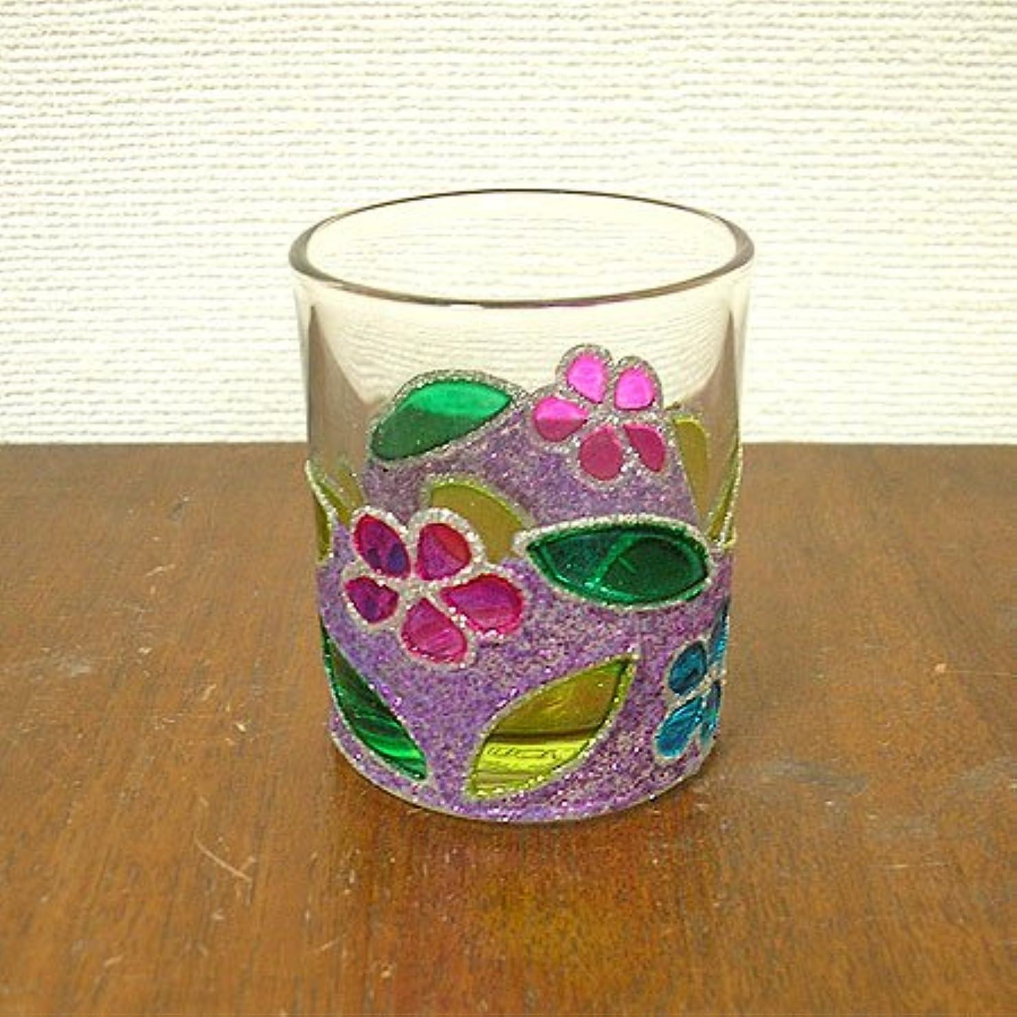 耳更新するジムアジアン キャンドルホルダー カップ グラス 花柄 パープル アジアン雑貨