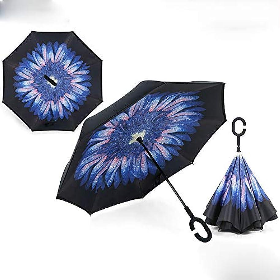 大きさ威信辞任C 字型のハンドル、反紫外線防水防風のまっすぐな傘の車の雨の屋外の使用の二重層の逆の傘