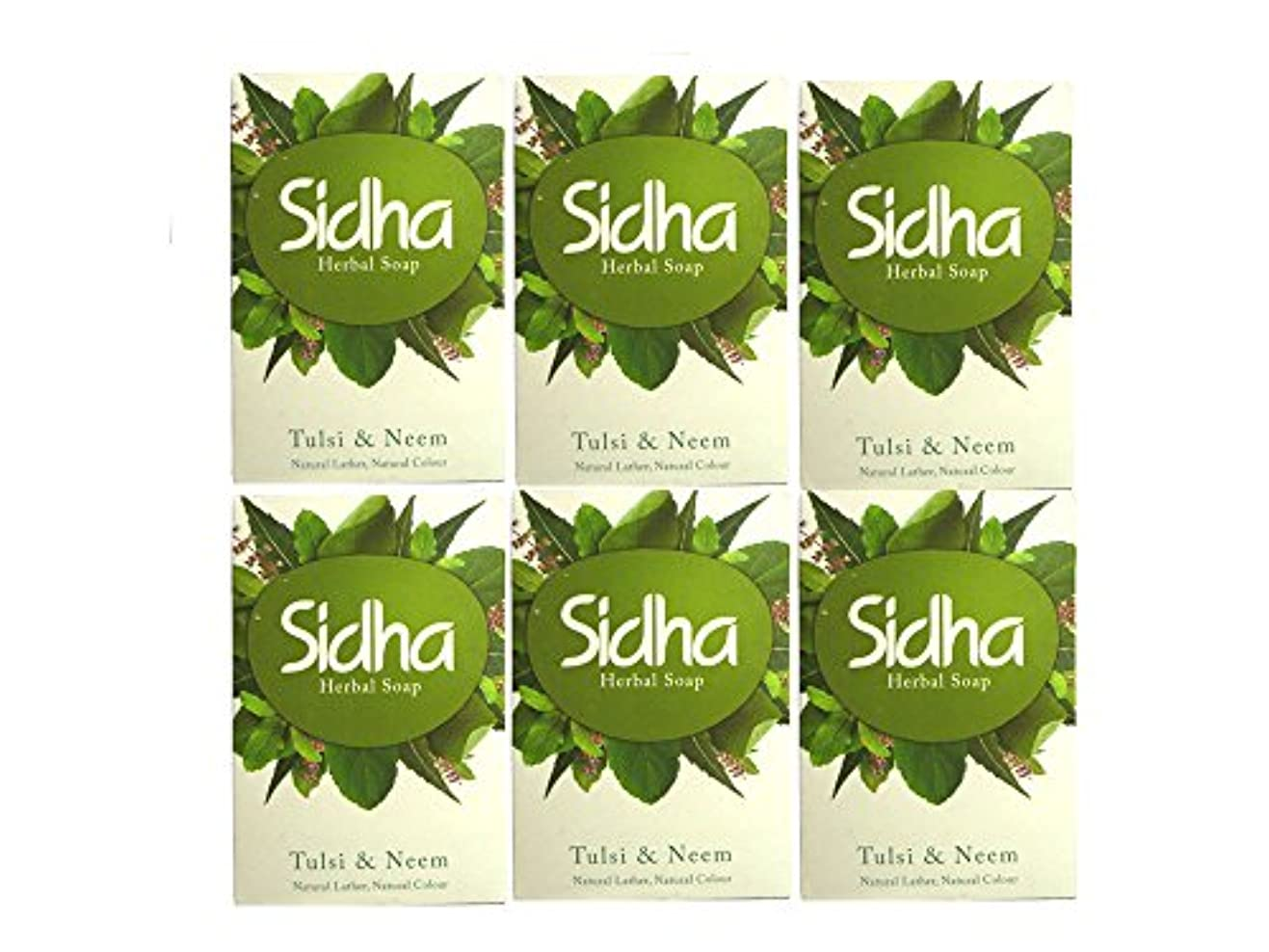 ジョブ市町村閲覧するSIHDH Herbal Soap Tulsi & Neem シダー ハ-バル ソープ 75g 6個セット