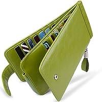 Huztencor 長財布 薄型 二つ折り メンズ レディース 磁気防止 カードケース カード26枚 収納 大容量 財布 本革 革 人気 小銭入れ 男女兼用 RFID識別