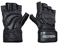 (X-Large, Black/Black) - Contraband Black Label 5990 Premium Leather Wrist-Lock Gloves w/ Rubber Xtreme Traction Pads