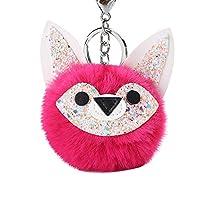 hamulekfae-のどの革のどの毛皮のボール犬のペンダントの女性のキーホルダーキーホルダーぶら下げ装飾 - Rose Red