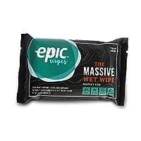 Epic Wipes、10パックの大きなウェットワイプ、生分解性で残留物が出ずシャワーの代替に、大きな旅行用竹製ボディワイプ