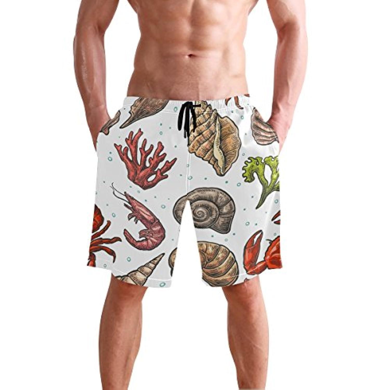VAWA 水着 メンズ サーフパンツ おしゃれ ビーチパンツ 海水パンツ 短パン 吸汗速乾 大きいサイズ 水陸両用 かわいい 虾柄 海老柄 海洋生物 タニシ