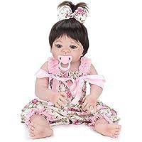22インチ リアルの女の子のような 欧米大人気 人形 着せ替えはできる 赤ちゃん ドール 子ども おもちゃ ぬいぐるみ (ハワイ風花柄ワンピース)