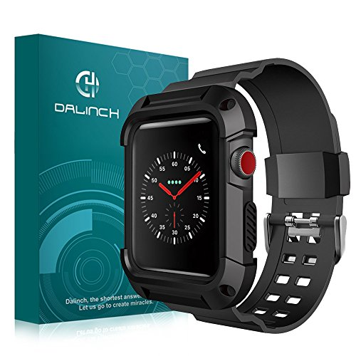 Apple Watch 42mm バンド Dalinch Apple Watch バンド 柔らかいシリコンバンド ケース付け スポーツに向け 交換バンド 装着簡単 Apple Watch Series 3/2/1対応(ブラック)
