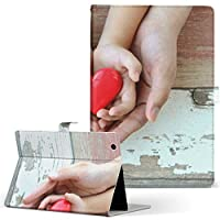 igcase d-01J dtab Compact Huawei ファーウェイ タブレット 手帳型 タブレットケース タブレットカバー カバー レザー ケース 手帳タイプ フリップ ダイアリー 二つ折り 直接貼り付けタイプ 014862 人間 ハート 手 写真