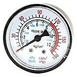 uxcell コンプレッサーゲージ エアーコンプレッサー 空気圧 流体 真空圧力計 0-12Bar 0-180PSI