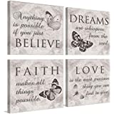 YPY Quoted Inspirational Wall Art - 4 Panels Canvas Print Faith Love Dreams Believe Calligraphy Canvas Wall Decor for Home Of