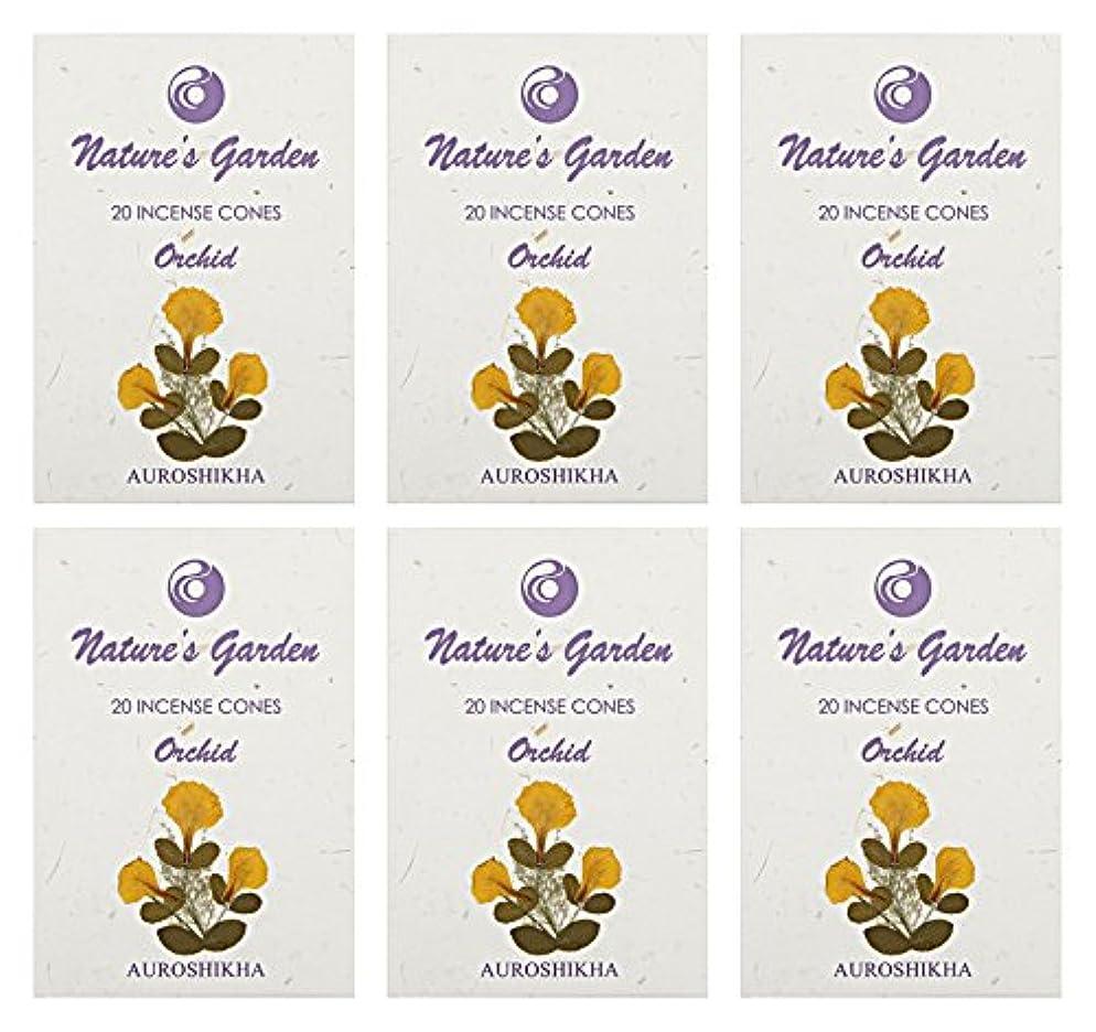玉拮抗せがむAuroshikha Nature 's Garden Orchid Incense Cones、120 – セットof 6
