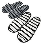 KUEANTAI 折りたたみ 携帯 スリッパ ご夫婦用 2点セット 卒業式 入学式 入園式 卒園式 出張 旅行 2つ折り ボーダー (ボーダー(ご夫婦セット))