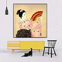 レトロな日本女性絵画レストラン壁アートプリントリビングルーム家の装飾画像-50×50センチ×1ピースフレームなし