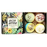 Bath Bombs Gift Set, JRINTL 4 made Fizzies, Shea & Coco Butter Dry Skin Moisturize, Perfect for Bubble & Spa Bath. Handmade B