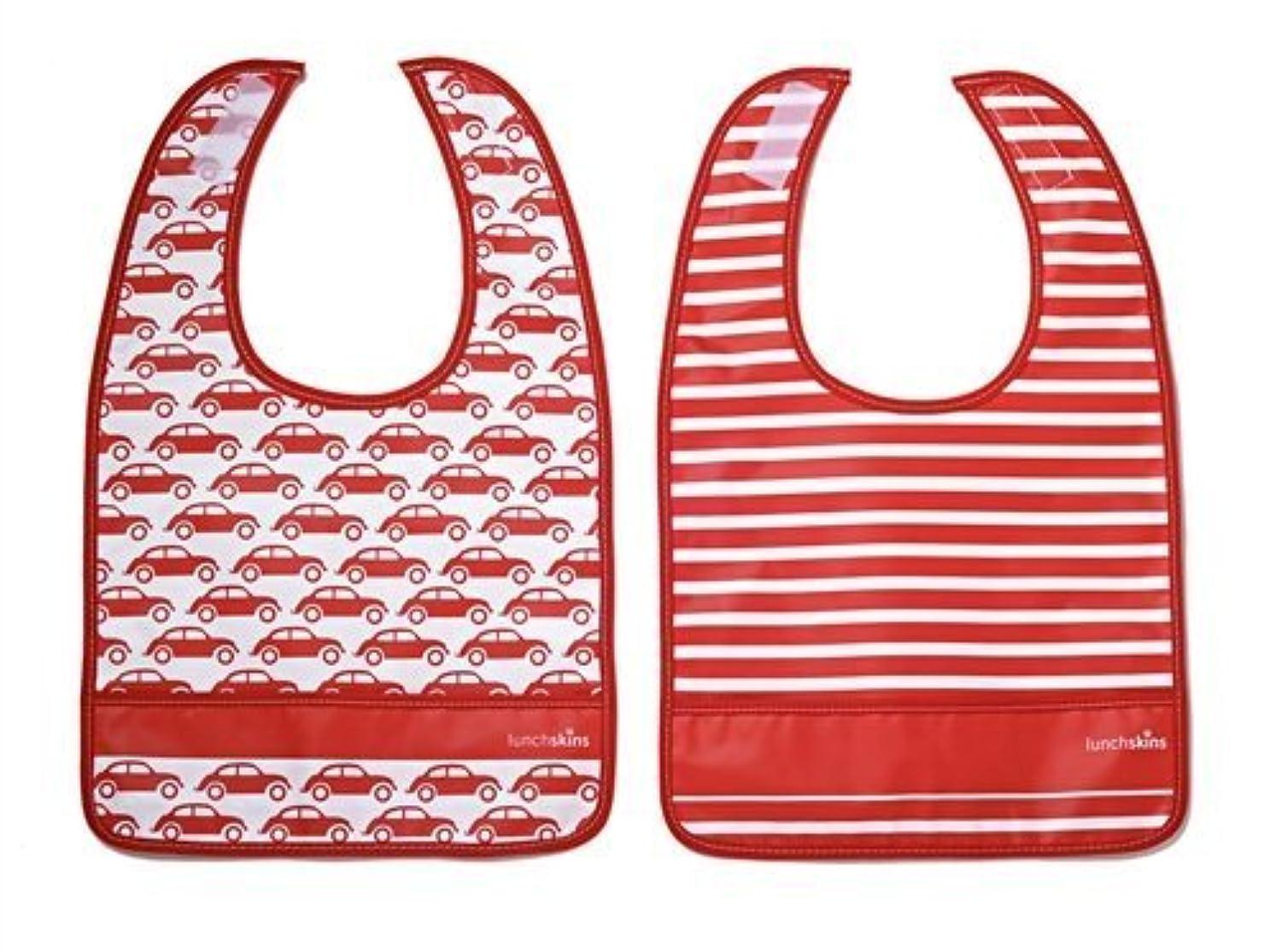 プロフェッショナルのため海嶺Lunchskins Dishwasher Safe Pocket Bib Set (Red Car) by LunchSkins [並行輸入品]