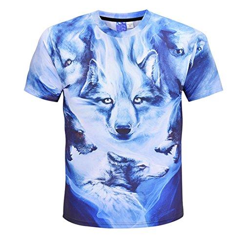 男性 Tシャツ、三番目の店 メンズ 夏 カジュアル 狼 3Dプリント 半袖 Oネック Tシャツ トップス ブラウス