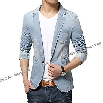 (メイク トゥ ビー) Make 2 Be メンズ デニム テーラード ジャケット 靴べら付き MA01 (ライトブルー XXXLサイズ)