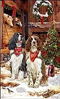 かわいいE.スプリンガー スパニエルのクリスマスカード ! クリスマスの門番でーす!☆プレゼントにも!