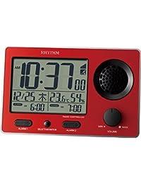リズム時計 目覚まし時計 大音量 電波 デジタル スーパークリアトーンFSR ダブル アラーム 赤 RHYTHM 8RZ149SR01