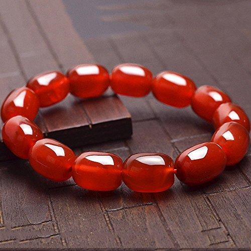 赤瑪瑙 レッドアゲート パワーストーン 天然石 高品質 赤メノウ 赤オニキス ブレスレット 運気アップ お守り (14x10mm)
