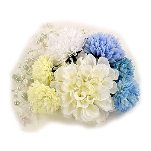ダリア マム髪飾り8点セット ホワイト 成人式 結婚式 浴衣
