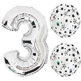 18インチ風船 お子様誕生日パーティー シルバー数字(3)バルーンx1個, 12インチ天然ゴム風船x2個(yq-03)