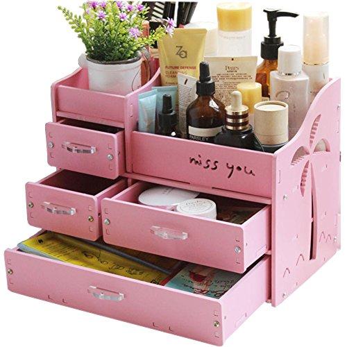 INANA メイクボックス コスメボックス ジュエリー ボックス アクセサリー ケース 自分組み立て式 収納 雑貨 小物入れ 化粧道具入れ 化粧品収納 便利 (ピンク)