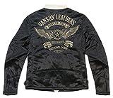 (バンソン)VANSON フライングスター 総刺繍 ボンディング ジャージ シングル ライダースジャケット NVSZ-504 S BLACK×IVORY(ブラック×生成り)