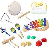 Cahaya Percussion Set Musical Instruments and EnlightenおもちゃキットTambourineベルMaracas Glockenspiel Castanets forベビー子供キッズ マルチカラー CY0037