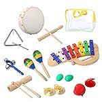 CAHAYA パーカッション セット 子供 楽器 おもちゃ 鉄琴 タンバリン ウッドブロック マラカス トライアングル カスタネット など 打楽器 10点セット