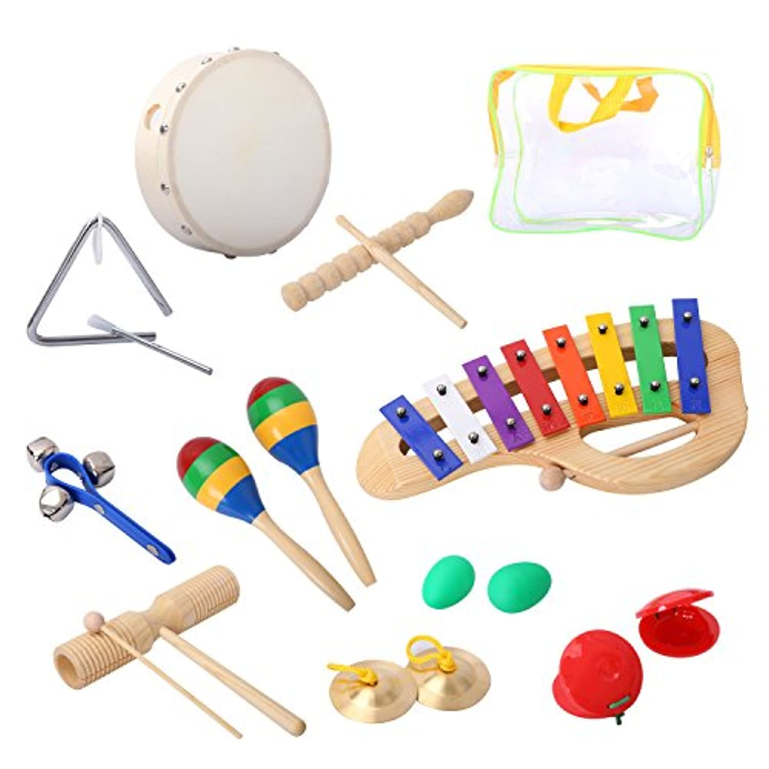 (CY0037) - CAHAYA Percussion Set Musical Instruments and Enlighten Toys Kit Tambourine Bells Maracas Glockenspiel Castanets with Small Bag for Baby 10PCS