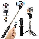 BlitzWolf 自撮り棒 Goproカメラ対応 三脚/一脚付き 拡張可能 360°回転 iPhone X/8/7/7plus/6s/6/5s/Android Samsung 3.5-6インチのスマホも対応