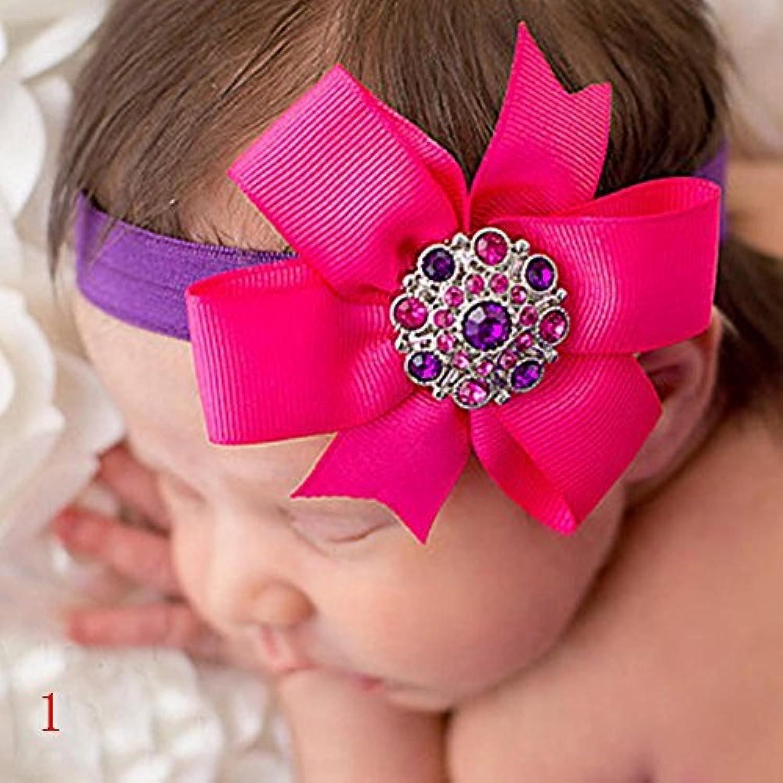 Nice Days(ナイス ディズ) ヘアアクセサリー ベビー ヘアバンド 可愛い 花 子供 赤ちゃん 新生児 髪飾り キラキラ ラインストーン (1#)