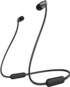 ソニー ワイヤレスイヤホン WI-C310 : Bluetooth対応/最大15時間連続再生/マイク付き フラットケーブル採用 2019年モデル ブラック WI-C310 BC